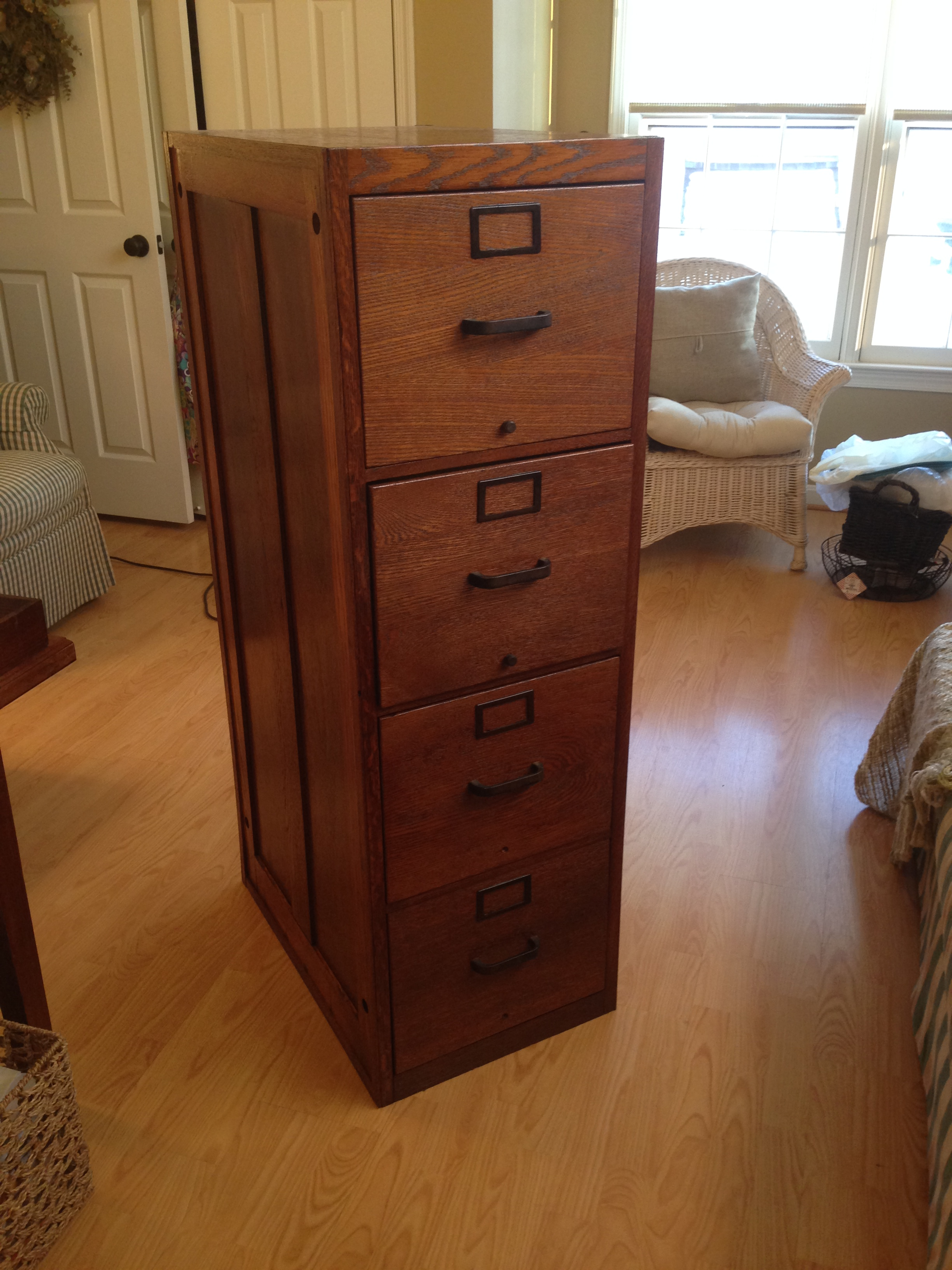 Reviving A Tired Oak File Cabi on lockable chest